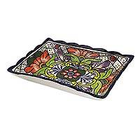 Ceramic rectangular tray, 'Floral Joy' - Handcrafted Rectangular Ceramic 9-in Floral Tray from Mexico