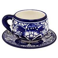 Ceramic cups and saucers, 'Blue Guanajuato' (set for 4) - Blue Covered Ceramic Cups and Saucers (Set for 4)