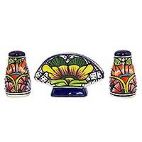 Ceramic salt, pepper and napkin holder set, 'Floral Joy' (3 pieces) - Majolica Ceramic Salt end Pepper Shakers and Napkin Holder