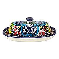 Ceramic butter dish, 'Comonfort Wildflowers' - Wildflower Motif Mexican Ceramic Butter Dish