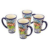 Tall ceramic coffee mugs, 'Floral Joy' (set of 4) - 4 Handcrafted Tall Floral Ceramic 15 oz Coffee Mug Cups