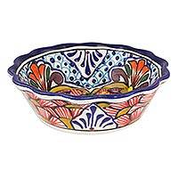 Ceramic cereal bowls, 'Floral Joy' (set of 4) - Set of Four Handcrafted Mexican Ceramic 10 oz Cereal Bowls