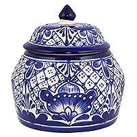Ceramic cookie jar, 'Blue Guanajuato' - Handcrafted Blue Floral Ceramic Cookie Jar with Lid