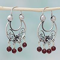 Garnet hoop earrings,