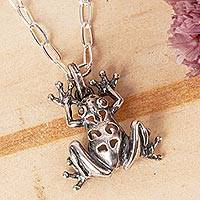 Sterling silver pendant necklace, 'Maya Tree Frog' - Sterling Silver Frog Pendant Necklace from Mexico