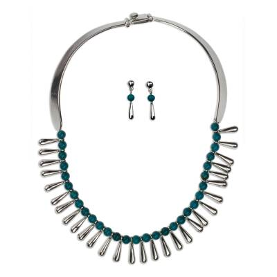 Handcrafted Taxco Silver and Turquoise Necklace & Earrings