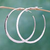 Sterling silver half-hoop earrings, 'Infinite Circle' - Taxco Artisan Crafted Sterling Silver Half Hoop Earrings