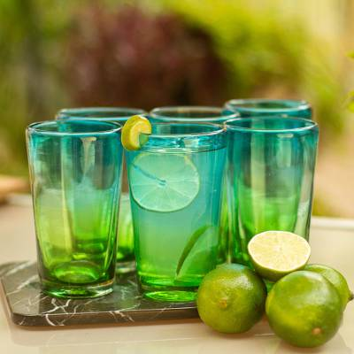 Blown glass highball glasses, 'Aurora Tapatia' (set of 6) - 6 Artisan Crafted Blue Green Blown Glass Highball Glasses