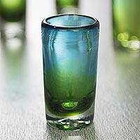 Blown glass shot glasses, 'Aurora Tapatia' (set of 6) - 6 Artisan Crafted Blue Green Blown Glass Shot Glasses Set