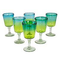 Blown glass wine glasses, 'Aurora Tapatia' (set of 6) - Blue Green Wine Glasses Hand Blown Mexican Art Set of 6