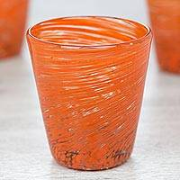 Blown glass rock glasses, 'Orange Centrifuge' (set of 6) - 6 Hand Blown Halloween Orange 8 oz Rock Glasses from Mexico