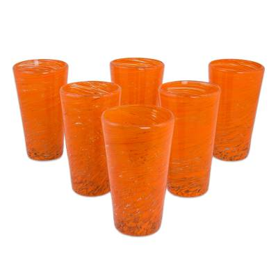Blown glass highball glasses, 'Orange Centrifuge' (set of 6) - 6 Mexican Hand Blown Halloween Orange 13 oz Highball Glasses