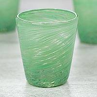 Blown glass rock glasses, 'Green Centrifuge' (set of 6) - Set of 6 Green Hand Blown 8 oz Rock Glasses from Mexico