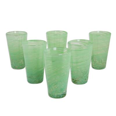 Blown glass highball glasses, 'Green Centrifuge' (set of 6) - 6 Green Hand Blown 13 oz Highball Glasses from Mexico