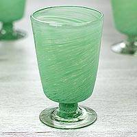 Blown glass dessert glasses, 'Green Centrifuge' (set of 6) - Set of 6 Green Hand Blown Dessert Glasses from Mexico