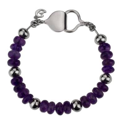 Handcrafted Amethyst and 925 Sterling Silver Beaded Bracelet