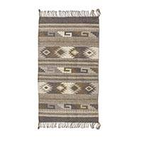 Zapotec wool rug, 'Zapotec Frieze' (2x3) - Zapotec Wool 2x3 Rug with Natural Dyes Colors Woven by Hand