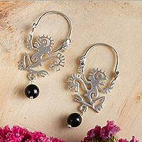 Sterling silver and onyx hoop earrings, 'Ozomatli Monkey' - Ozomatli Pre-Hispanic Monkey 925 Silver Hoop Earrings