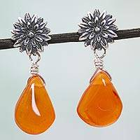 Carnelian flower earrings, 'Cempazuchitl' - Antiqued Floral Sterling Silver and Carnelian Earrings