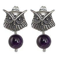 Amethyst dangle earrings, 'Owl Musings' - Sterling Silver Owl Earrings with Amethyst Globes