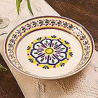 Majolica ceramic serving bowl, 'Celaya Sunflower' - Yellow and White Floral Theme Ceramic Serving Bowl