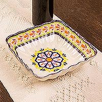 Majolica ceramic square serving bowl, 'Celaya Sunflower' (Mexico)