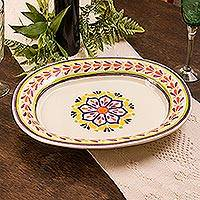 Majolica ceramic serving platter, 'Celaya Sunflower' - Majolica Ceramic Floral Theme Platter from Mexico