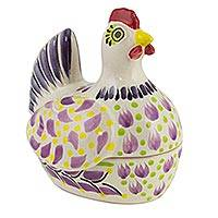 Majolica ceramic cookie jar, 'Pretty Purple Hen' - Mexican Hand Crafted Majolica Ceramic Cookie Jar