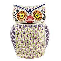 Majolica ceramic cookie jar, 'Purple Owl' - Handcrafted Lead Free Traditional Mexican Majolica Cookie Ja