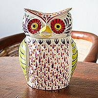 Majolica ceramic cookie jar, 'Colorful Owl' - Colorful Owl Theme Majolica Ceramic Cookie Jar