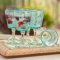 Blown glass wine glasses, Aquamarine Sunflowers (set of 6) - Engraved Pepita Flowers on Hand Blown Wine Glasses Set of 6