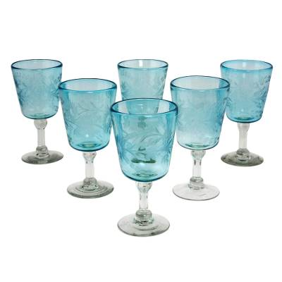 Blown glass wine glasses, 'Aquamarine Sunflowers' (set of 6) - Engraved Pepita Flowers on Hand Blown Wine Glasses Set of 6