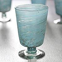 Blown glass dessert glasses, 'Aquamarine Centrifuge' (set of 6) - 6 Aquamarine Hand Blown 10 oz Dessert Glasses from Mexico