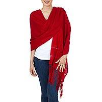 Rebozo shawl, 'Crimson Enchantment' - Handwoven Red Mexican Rebozo Shawl