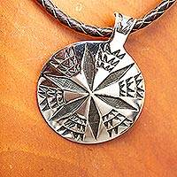 Sterling silver and leather pendant necklace, 'Crop Circle' - Brown Leather Artisan Crafted Taxco Silver Pendant Necklace