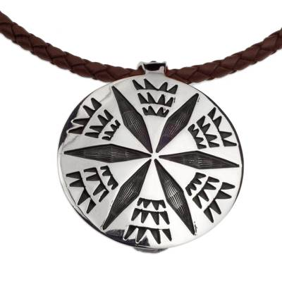 Brown Leather Artisan Crafted Taxco Silver Pendant Necklace