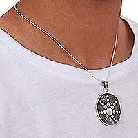 Sterling silver pendant necklace,'Star in the Moon' - Artisan Crafted Taxco Sterling Silver Pendant Necklace