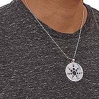 Sterling Silver Pendant Necklace Molecular Sun (mexico)
