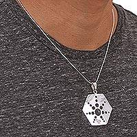 Sterling silver pendant necklace, 'Molecular Star' - Taxco Sterling Silver Artisan Crafted Pendant Necklace
