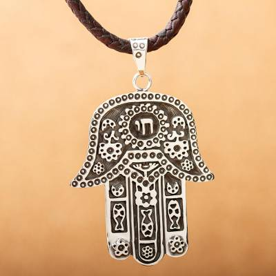 Sterling silver and leather pendant necklace, 'Hamsa Amulet' - Taxco Silver Artisan Crafted Leather Hamsa Symbol Necklace