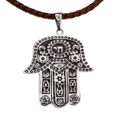 Taxco Silver Artisan Crafted Leather Hamsa Symbol Necklace