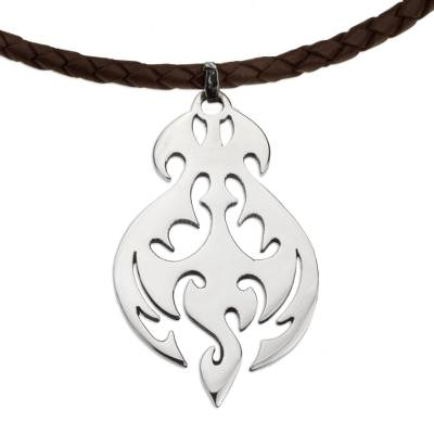 Sterling Silver Silhouette Brown Leather Pendant Necklace