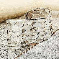Sterling silver cuff bracelet, 'Dynamic Diamonds' - Taxco Silver Abstract Geometric Cutout Motif Cuff Bracelet