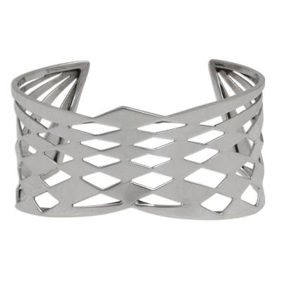 Taxco Silver Abstract Geometric Cutout Motif Cuff Bracelet