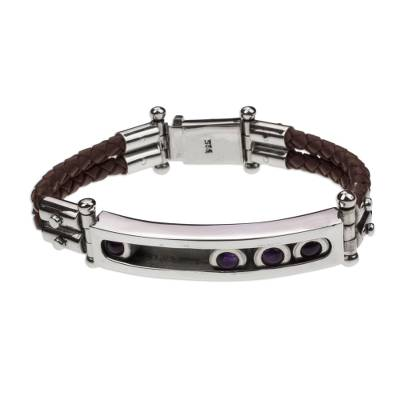 Taxco Silver Bracelet with Amethyst and Brown Leather
