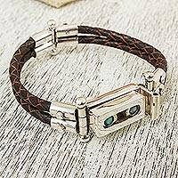 Turquoise leather accent wristband bracelet, 'Taxco Abacus' - Turquoise and Taxco Silver Bracelet with Brown Leather