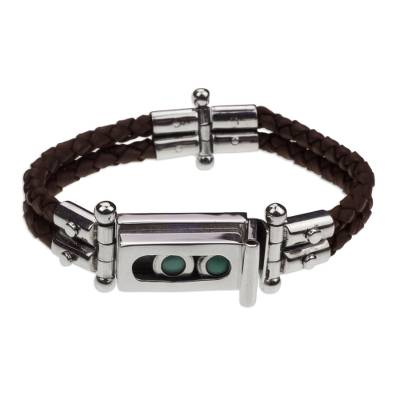 Rustic Braided Brown Leather Sterling Silver Turquoise Bracelet
