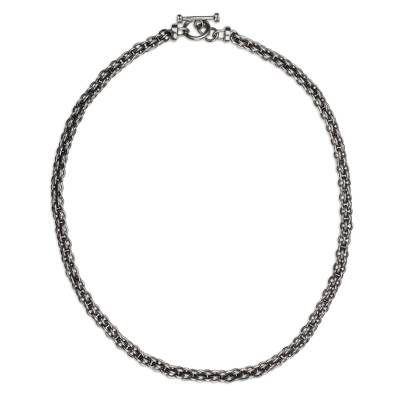 Handcrafted 20-Inch Unisex Sterling Silver Chain Necklace