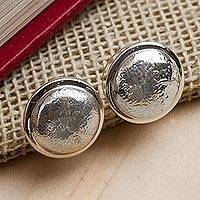 Sterling silver button earrings, 'Crumpled Spheres' - Taxco Jewelry Artisan Crafted Sterling Silver Earrings