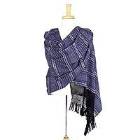 Cotton rebozo shawl, 'Blue Duck' - Artisan Crafted Cotton Blue Mexican Rebozo with Duck Pattern